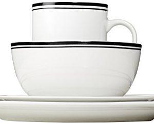 Amazon Basics 16 Piece Cafe Stripe Kitchen Dinnerware Set Plates Bowls Mugs Service For 4 Black 0 1 300x243