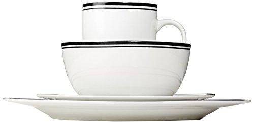 Amazon Basics 16 Piece Cafe Stripe Kitchen Dinnerware Set Plates Bowls Mugs Service For 4 Black 0 1