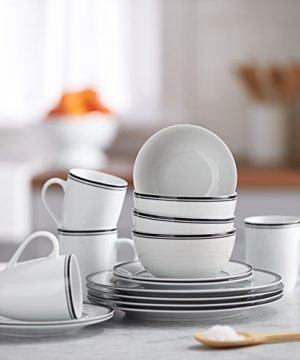 Amazon Basics 16 Piece Cafe Stripe Kitchen Dinnerware Set Plates Bowls Mugs Service For 4 Black 0 4 300x360