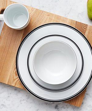 Amazon Basics 16 Piece Cafe Stripe Kitchen Dinnerware Set Plates Bowls Mugs Service For 4 Black 0 5 300x360