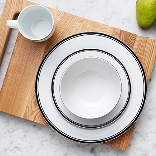 Amazon Basics 16 Piece Cafe Stripe Kitchen Dinnerware Set Plates Bowls Mugs Service For 4 Black 0 5