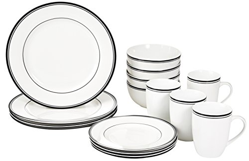Amazon Basics 16 Piece Cafe Stripe Kitchen Dinnerware Set Plates Bowls Mugs Service For 4 Black 0