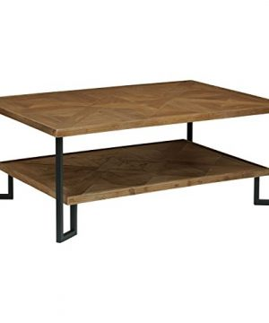 Amazon Brand Stone Beam Bernice Industrial Reclaimed Parquet Wood Coffee Table 42W Natural And Black 0 300x360