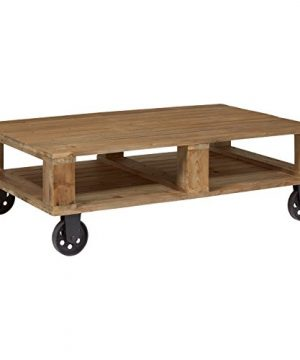 Amazon Brand Stone Beam Industrial Pallet Wood Coffee Table With Wheels 51W Natural 0 300x360