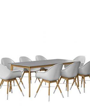 Amazonia Adak 9 Piece Outdoor Rectangular Dining Table Set Eucalyptus Wood Ideal For Patio And Indoors 0 0 300x360