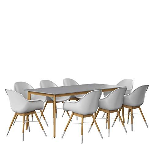 Amazonia Adak 9 Piece Outdoor Rectangular Dining Table Set Eucalyptus Wood Ideal For Patio And Indoors 0 0