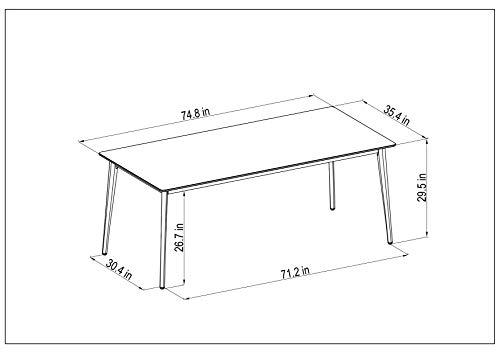 Amazonia Adak 9 Piece Outdoor Rectangular Dining Table Set Eucalyptus Wood Ideal For Patio And Indoors 0 3