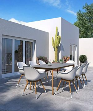 Amazonia Adak 9 Piece Outdoor Rectangular Dining Table Set Eucalyptus Wood Ideal For Patio And Indoors 0 300x360