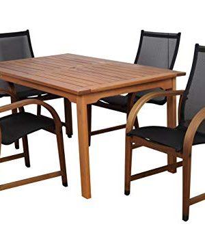 Amazonia Bahamas 5 Piece Eucalyptus Rectangular Dining Set Black 0 0 300x338