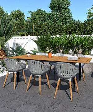 Amazonia Bruges 7 Piece Outdoor Rectangular Dining Table Set Teak Finish Ideal For Patio And Indoors 0 300x360