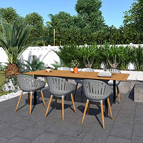 Amazonia Bruges 7 Piece Outdoor Rectangular Dining Table Set Teak Finish Ideal For Patio And Indoors 0