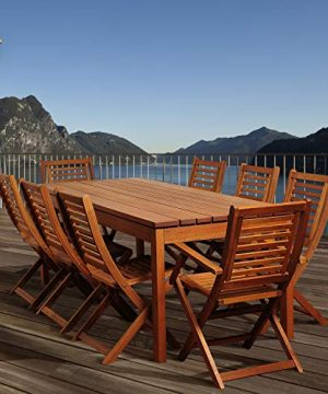 Amazonia Delaware 9 Piece Outdoor Dining Table Set Eucalyptus Wood Ideal For Patio And Indoors Brown 0 0 300x360