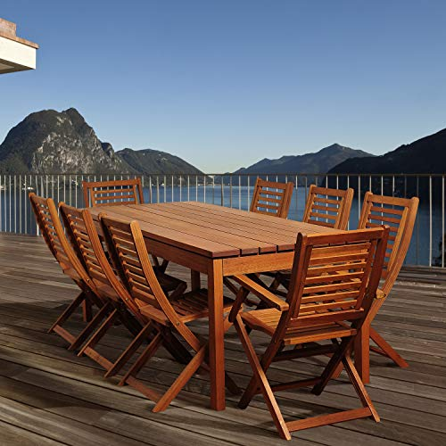 Amazonia Delaware 9 Piece Outdoor Dining Table Set Eucalyptus Wood Ideal For Patio And Indoors Brown 0 0