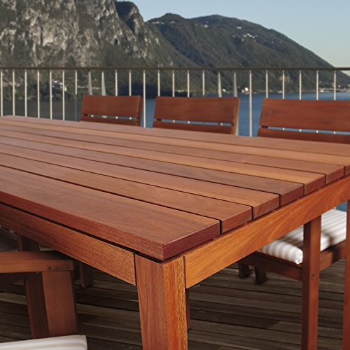 Amazonia Delaware 9 Piece Outdoor Dining Table Set Eucalyptus Wood Ideal For Patio And Indoors Brown 0 1