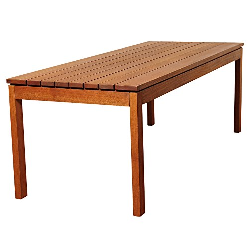 Amazonia Delaware 9 Piece Outdoor Dining Table Set Eucalyptus Wood Ideal For Patio And Indoors Brown 0 2