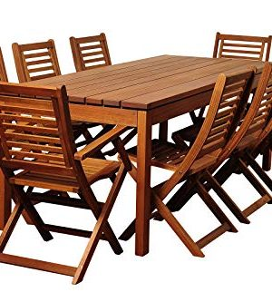 Amazonia Delaware 9 Piece Outdoor Dining Table Set Eucalyptus Wood Ideal For Patio And Indoors Brown 0 300x333