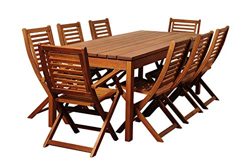 Amazonia Delaware 9 Piece Outdoor Dining Table Set Eucalyptus Wood Ideal For Patio And Indoors Brown 0