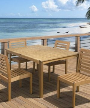 Amazonia Derby 5 Piece Patio Armless Rectangular Dining Set Eucalyptus Wood Ideal For Outdoors And Indoors 0 0 300x360