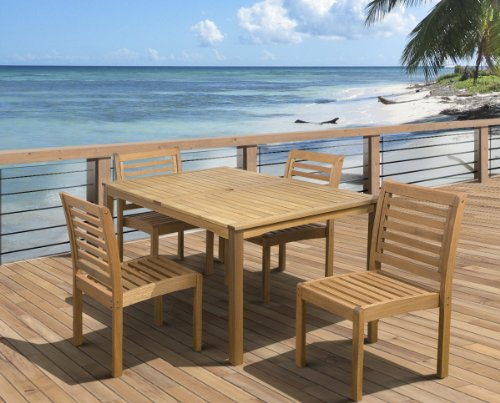 Amazonia Derby 5 Piece Patio Armless Rectangular Dining Set Eucalyptus Wood Ideal For Outdoors And Indoors 0 0