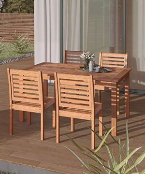 Amazonia Derby 5 Piece Patio Armless Rectangular Dining Set Eucalyptus Wood Ideal For Outdoors And Indoors 0 300x360