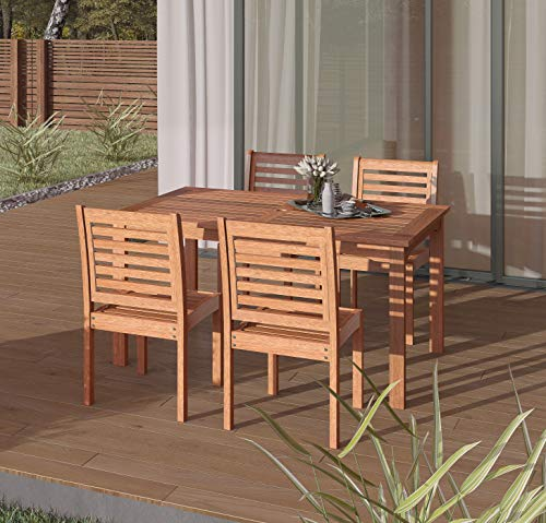 Amazonia Derby 5 Piece Patio Armless Rectangular Dining Set Eucalyptus Wood Ideal For Outdoors And Indoors 0