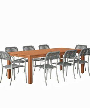 Amazonia Monaco 9 Piece Outdoor Rectangular Dining Table Set Eucalyptus Wood Ideal For Patio And Indoors Dark Teak Finish 0 0 300x360
