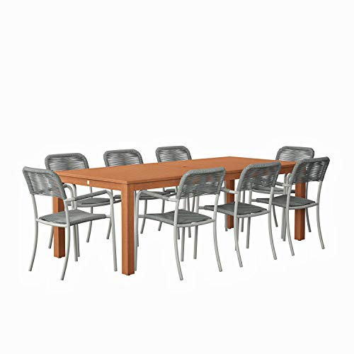 Amazonia Monaco 9 Piece Outdoor Rectangular Dining Table Set Eucalyptus Wood Ideal For Patio And Indoors Dark Teak Finish 0 0