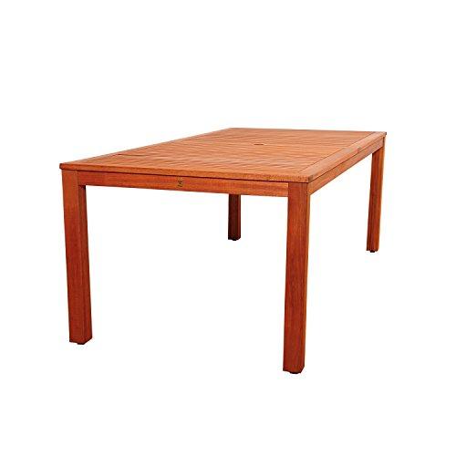 Amazonia Monaco 9 Piece Outdoor Rectangular Dining Table Set Eucalyptus Wood Ideal For Patio And Indoors Dark Teak Finish 0 1