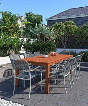Amazonia Monaco 9 Piece Outdoor Rectangular Dining Table Set Eucalyptus Wood Ideal For Patio And Indoors Dark Teak Finish 0 300x360