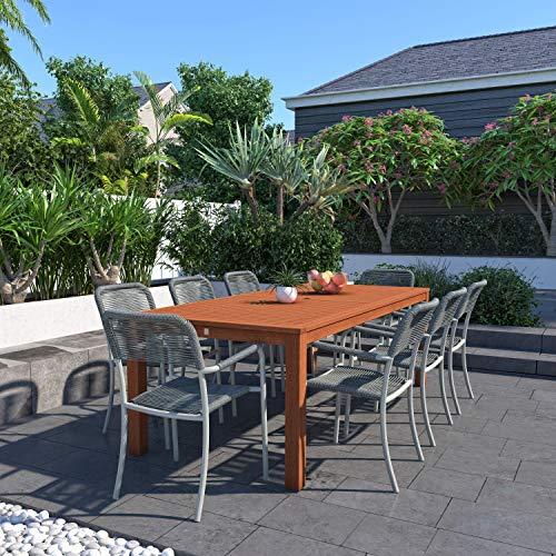 Amazonia Monaco 9 Piece Outdoor Rectangular Dining Table Set Eucalyptus Wood Ideal For Patio And Indoors Dark Teak Finish 0