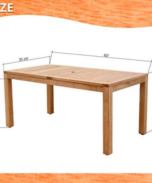 Amazonia Pennsylvania 7 Piece Outdoor Rectangular Dining Table Set Certified Teak Ideal For Patio And Indoors Light Brown 0 1 300x360
