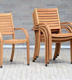 Amazonia Spiaggia 5 Piece Extendable Patio Dining Set Teak Finish And Stackable Chairs Durable And Ideal For Outdoors 0 0 300x333