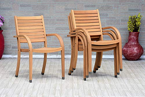 Amazonia Spiaggia 5 Piece Extendable Patio Dining Set Teak Finish And Stackable Chairs Durable And Ideal For Outdoors 0 0