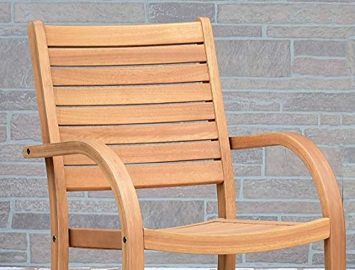 Amazonia Spiaggia 5 Piece Extendable Patio Dining Set Teak Finish And Stackable Chairs Durable And Ideal For Outdoors 0 1