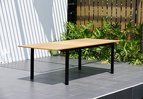 Amazonia Spiaggia 5 Piece Extendable Patio Dining Set Teak Finish And Stackable Chairs Durable And Ideal For Outdoors 0 2