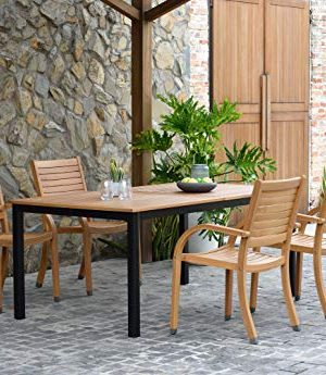 Amazonia Spiaggia 5 Piece Extendable Patio Dining Set Teak Finish And Stackable Chairs Durable And Ideal For Outdoors 0 300x345
