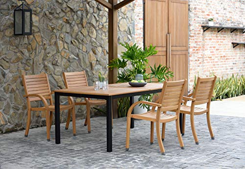 Amazonia Spiaggia 5 Piece Extendable Patio Dining Set Teak Finish And Stackable Chairs Durable And Ideal For Outdoors 0