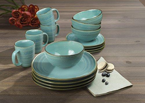 American Atelier Tallulah 16 Piece Round Dinnerware Set 11x11 Teal 0 0