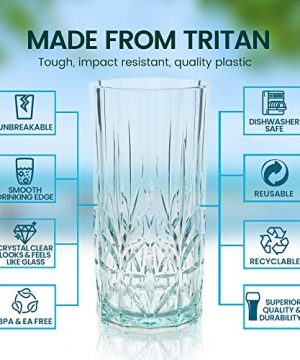 BELLAFORTE Shatterproof Tritan Tall Tumbler Teal 18oz Set Of 4 Myrtle Beach Drinking Glasses Dishwasher Safe Plastic Tumblers Unbreakable Glassware For Indoor And Outdoors BPA Free 0 0 300x360