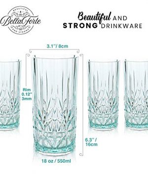 BELLAFORTE Shatterproof Tritan Tall Tumbler Teal 18oz Set Of 4 Myrtle Beach Drinking Glasses Dishwasher Safe Plastic Tumblers Unbreakable Glassware For Indoor And Outdoors BPA Free 0 2 300x360