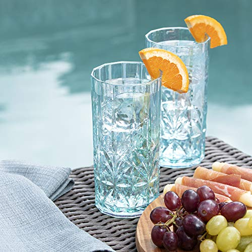 BELLAFORTE Shatterproof Tritan Tall Tumbler Teal 18oz Set Of 4 Myrtle Beach Drinking Glasses Dishwasher Safe Plastic Tumblers Unbreakable Glassware For Indoor And Outdoors BPA Free 0 3