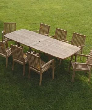 Bayview Patio New 9pc Grade A Teak Outdoor Dining Set One Double Extension Table 8 Patara Stacking Arm Chairs Fine Sanded No Application 0 0 300x360