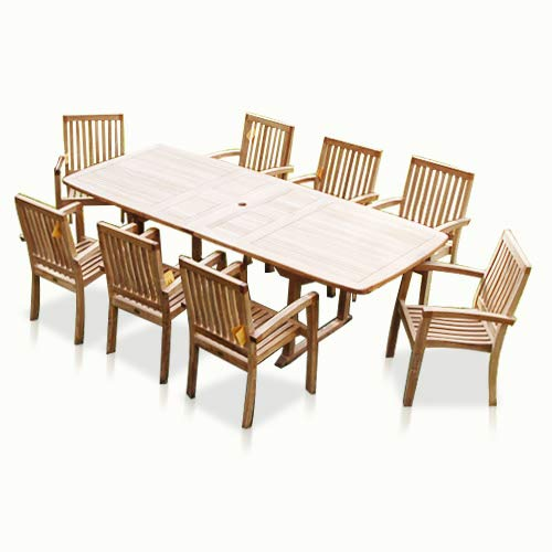 Bayview Patio New 9pc Grade A Teak Outdoor Dining Set One Double Extension Table 8 Patara Stacking Arm Chairs Fine Sanded No Application 0