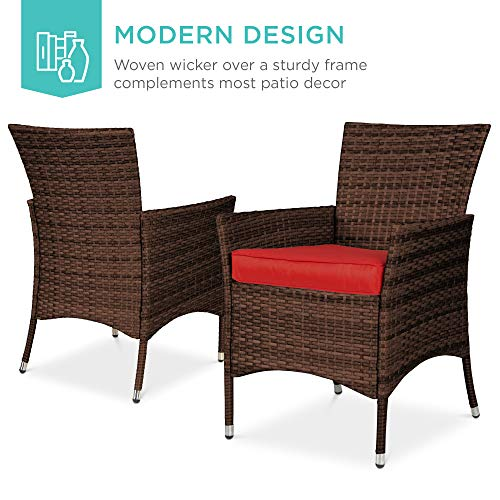 Best Choice Products 5 Piece Indoor Outdoor Wicker Dining Set Furniture For Patio Backyard WSquare Glass Tabletop Umbrella Cutout 4 Chairs Red 0 0