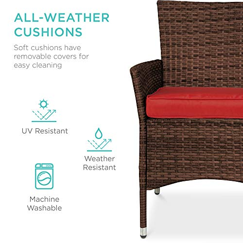 Best Choice Products 5 Piece Indoor Outdoor Wicker Dining Set Furniture For Patio Backyard WSquare Glass Tabletop Umbrella Cutout 4 Chairs Red 0 2