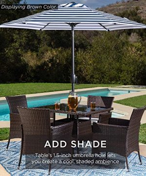 Best Choice Products 5 Piece Indoor Outdoor Wicker Dining Set Furniture For Patio Backyard WSquare Glass Tabletop Umbrella Cutout 4 Chairs Red 0 3 300x360