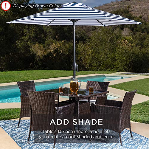 Best Choice Products 5 Piece Indoor Outdoor Wicker Dining Set Furniture For Patio Backyard WSquare Glass Tabletop Umbrella Cutout 4 Chairs Red 0 3