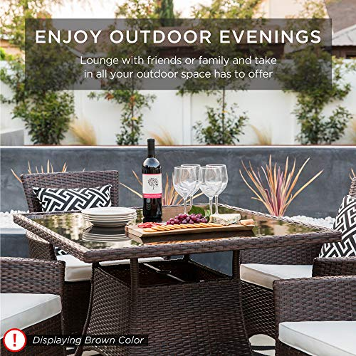 Best Choice Products 5 Piece Indoor Outdoor Wicker Dining Set Furniture For Patio Backyard WSquare Glass Tabletop Umbrella Cutout 4 Chairs Red 0 4