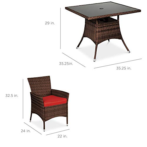 Best Choice Products 5 Piece Indoor Outdoor Wicker Dining Set Furniture For Patio Backyard WSquare Glass Tabletop Umbrella Cutout 4 Chairs Red 0 5