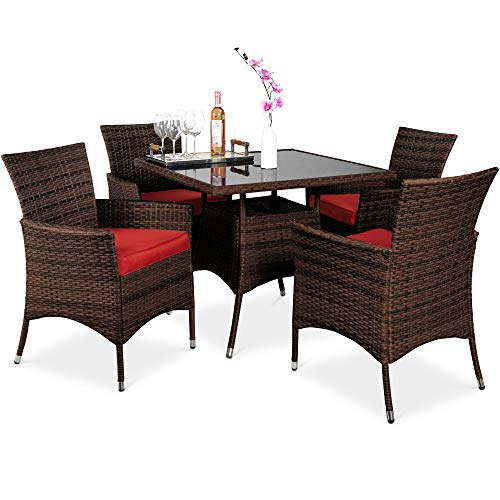 Best Choice Products 5 Piece Indoor Outdoor Wicker Dining Set Furniture For Patio Backyard WSquare Glass Tabletop Umbrella Cutout 4 Chairs Red 0